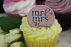 24 x Personalised Wedding Edible rice paper Cupcake Toppers Mr & Mrs with chosen Name.. £2.99, via Etsy.