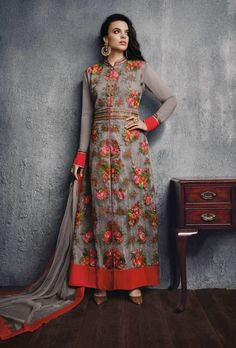 Grey and red designer suit with dupatta