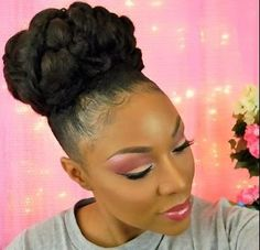 Gorgeous Bridal Bun for Medium Length Natural Hair  Read the article here - http://www.blackhairinformation.com/general-articles/hairstyles-general-articles/gorgeous-bridal-bun-medium-length-natural-hair/ #naturalhair #naturalhairstyles