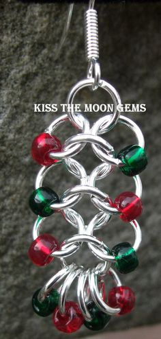 3d30c7b2c74b Womens Beaded 41 Chainmaille Earrings by kissthemoongems on Etsy