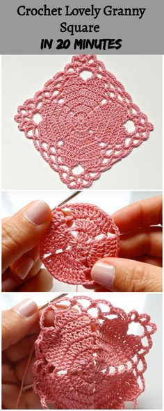 Crochet Lovely Granny Square In 20 MinutesYou can find Crochet motif and more on our website.Crochet Lovely Granny Square In 20 Minutes Crochet Motifs, Granny Square Crochet Pattern, Crochet Blocks, Crochet Stitches Patterns, Crochet Squares, Thread Crochet, Crochet Designs, Crochet Crafts, Crochet Doilies