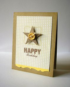 Simple card - {Happy Birthday}  Stamps: Star Prints, Vintage Labels (Papertrey Ink)/ Happy Days (Verve Stamps)  Ink: Antique Linen Distress Ink (Ranger)/ Rich Cocoa (Memento)  Patterned Paper: Fine and Dandy - True Blue 6x6 Collection (My Mind's Eye)  Cardstock: Kraft, Harvest Gold (Papertrey Ink)  Accessories: Border Punch (EK Success)