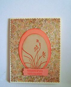 Stampin up handmade card: Thoughts of you warm my heart, embossed, peach, nd stamped card by wcards