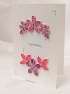 Birthday Card  pink and purple flowers quilling by PaperParadisePL, zł35.00
