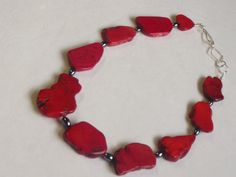 Apple Red Turquoise Slab Beads Chain Necklace by Deanasprairiegems, $58.59