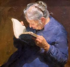 Old woman reading, B