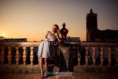 Sesión de fotos con Beatriz Pozo. Un cielo precioso desde esta terraza con la torre al fondo.