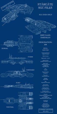 Always loved the Daedalus class design. Sun Tzu Data Sht - Classified by on DeviantArt Stargate Movie, Stargate Ships, Stargate Atlantis, Spaceship Art, Spaceship Design, Science Fiction, Stargate Universe, Sci Fi Shows, Sun Tzu