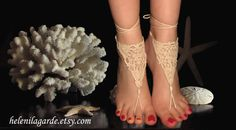 Crochet Ivory Barefoot Sandals, Nude shoes, Foot jewelry, Wedding, Victorian Lace,Anklet , Steampunk, Beach Pool  $15.00 USD