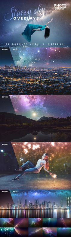 Night Sky Starry Overlays + Actions: Photo Effects Photoshop created by Graphic-Spirit. Effects Photoshop, Photoshop Actions, Adobe Photoshop, Lightroom, Old Photo Effects, Lens Flare Effect, Optical Flares, Shadow Photos, Light Leak