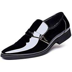 badd4a7c0b8 Feidaeu Derby Homme Chaussures de Ville Sans Lacets Vernies Brillantes  Designer Italien Cuir Daim Habillées Élégantes