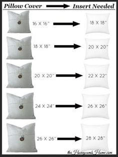 What size pillow insert you need for your pillow cover, decorative pillows covers design The Secret to Perfect Throw Pillows - The Honeycomb Home Diy Pillow Covers, Diy Pillows, Decorative Pillows, Pillows On Bed, Sewing Throw Pillows, Making Cushion Covers, Large Throw Pillows, Modern Throw Pillows, Pillow Ideas