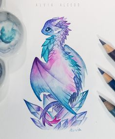 Painted Crystal dragon by AlviaAlcedo on DeviantArt Drawing AlviaAlcedo Crystal DeviantArt Dragon dragon Drawing painted Fantasy Drawings, Cool Art Drawings, Art Drawings Sketches, Kawaii Drawings, Fantasy Art, Anime Fantasy, Cute Dragon Drawing, Dragon Sketch, Cute Dragon Tattoo