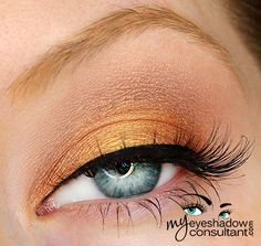 MAC eyeshadows used:  Goldmine (middle of lid) Amber Lights (inner and outer third of lid) Era (crease) Blanc Type (blend)