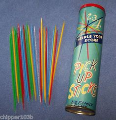 VINTAGE CAN PICK UP STICKS  1960'S - LIDO TOY CORP.-NOS - I had this exact can; we spent hours playing this!