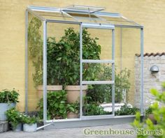 Halls 2ft x 6ft Wall Garden Lean to Greenhouse  http://www.greenhousestores.co.uk/Halls-2x6-Wall-Garden-Lean-To-Greenhouse-Toughened-Safety-Glazing.htm