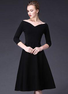 Cotton Blends Solid 3 4 Sleeves Mid-Calf Elegant Dresses 2edfd632b