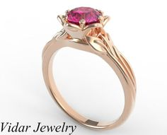 Custom Rose Gold Flower Engagement Ring. by Vidarjewelry on Etsy, $999.00