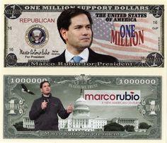 Marco Rubio for President 2016 Million Dollar Bill