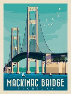 Anderson Design Group – American Travel – Mackinac Bridge, Michigan - New Site Traverse City Michigan, Michigan Travel, National Park Posters, National Parks, Mackinac Bridge, Travel Illustration, Mackinac Island, Vintage Travel Posters, Poster Vintage