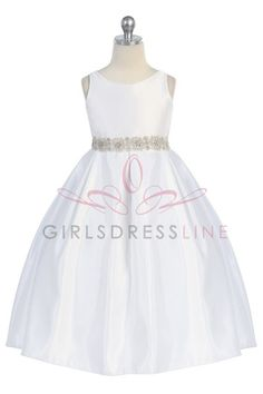 Madison's First Communion Dress :)  Satin Holy Communion Dress - CD-587-WH CD-587-FC on www.GirlsDressLine.Com.