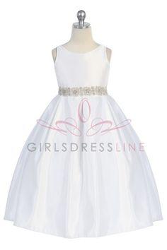 Madison's First Communion Dress :)  Satin Holy Communion Dress - CD-587-WH CD-587-FC on www.GirlsDressLine.Com.