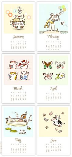 2014 calendar, January to June by {JooJoo}, via Flickr