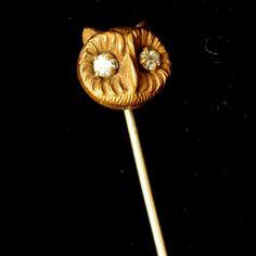 Owl with Paste Eyes Stick Pin Vintage Vintage Pins, Vintage Jewelry, Bird Jewelry, Stick Pins, Hat Pins, Brooch Pin, Owl, Jewellery, Eyes