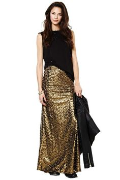 "Nasty Gal Gold Fever Skirt at Nasty Gal. Strike it ""RICH"" when you step out in style, wearing this gorgeous skirt. Those around you will have to wear shades - because you ""shine"" so bright!"