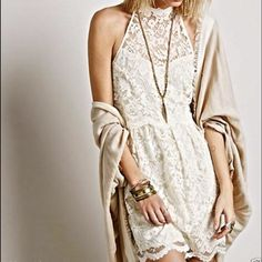 Free People lace dress Free People lace dress, size 8.  Cream colored, halter style with a high neck and double split low back with neck closure.  Beautiful!  New without tags. Free People Dresses Mini
