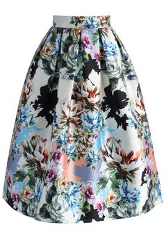 Floral Explosion Printed Midi Skirt - Skirt - Bottoms - Retro, Indie and Unique Fashion