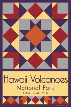Hawaii Volcanoes National Park Quilt Block designed by Susan Davis. Susan is the owner of Olde America Antiques and American Quilt Blocks She has created unique quilt block designs to celebrate the National Park Service Centennial in 2016. These are the first quilt blocks designed specifically for America's national parks and are new to the quilting hobby. OldeAmericaAntiques.com and AmericanQuiltBlocks.com