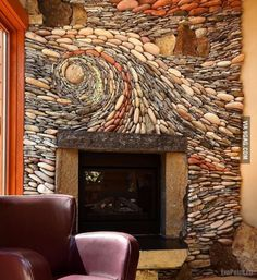 Look at the amazing stonework on this fireplace!