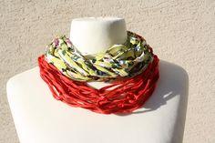 Schals - Loop Schlauchschal kiwi grün rot Textilgarn  - ein Designerstück von trixies-zauberhafte-Welten bei DaWanda