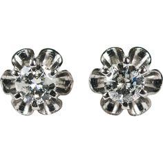 #VintageBeginsHere at www.rubylane.com @rubylanecom --Solitaire Diamond Studs .67ctw 14k Gold Buttercup Diamond Earrings