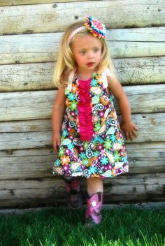 Baby Girl Dress Comes With Matching Flower CLip by SooShabbyChic, $23.99