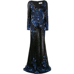Badgley Mischka Sequin Gown (525 AUD) ❤ liked on Polyvore featuring dresses, gowns, badgley mischka, black, evening gowns, sequined dresses, sequin gown, long sleeve evening gowns, long gowns and long sleeve dress