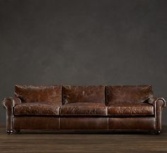The Dream Restoration Hardware Lancaster Leather Sofa 112 Or 120 Width With 49 Depth I Will Someday Sit On This In My Own Living Room And Not Just