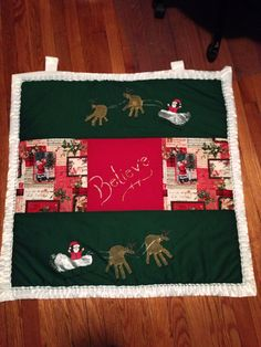 Holiday footprint and handprint wall hanging , great gift idea for grandparents