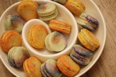 Handpainted Saffron-Orange Blossom macarons on Orange-Pistachio shells and Moroccan Spiced Coffee macarons. Looks like a watercolour painting. Pistachio Shells, Spiced Coffee, Orange Blossom, Watercolour Painting, Scotch, Macarons, Moroccan, Spices, Peach