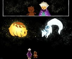 Bear Sun, Fox Moon   © 2016 Nadia Kim                                                                                                     .. Star cosmo universo pet white fox