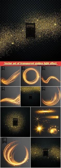Download Vectors  set of transparent golden light effect shiny sparkles confetti background Free