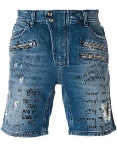 JUST CAVALLI Distressed Denim Shorts. #justcavalli #cloth #shorts
