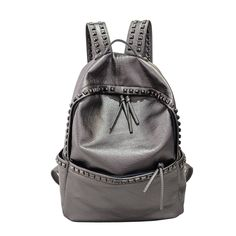 $31.27 (Buy here: https://alitems.com/g/1e8d114494ebda23ff8b16525dc3e8/?i=5&ulp=https%3A%2F%2Fwww.aliexpress.com%2Fitem%2F2016-New-Fashion-Rock-Rivets-Skull-Backpack-Women-Black-Leather-Drawstring-Rucksack-Famous-Brand-Cool-Casual%2F32608350676.html ) 2016 Women Rivets Backpack Fashion Silver White Girls School Bag High Quality PU Leather Large Backpacks Black mochila XA695H for just $31.27