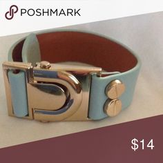 Blue faux leather cuff with gold accent Blue faux leather adjustable cuff with gold accent Jewelry Bracelets