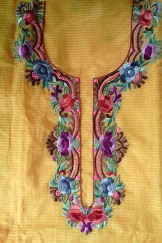 Shop more Handloom Parsi Work Kurti Fabric at Luxurionworld. Embroidery Suits Punjabi, Embroidery On Kurtis, Hand Embroidery Dress, Kurti Embroidery Design, Flower Embroidery Designs, Embroidered Clothes, Embroidery Fashion, Machine Embroidery Designs, Neckline Designs