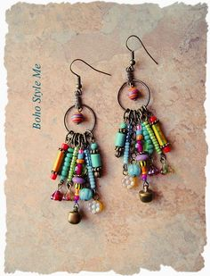 Boho Colorful Fun Earrings Bohemian Dangle Earrings Modern Hippie Earrings Boho Fashion Boho Style Me Kaye Kraus by BohoStyleMe on Etsy Bohemian Jewelry, Beaded Jewelry, Feather Jewelry, Boho Gypsy, Bohemian Accessories, Hippie Boho, Earrings Handmade, Handmade Jewelry, Diy Earrings Beads