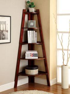Lyss contemporary style cherry finish wood 5 tier corner bookcase shelf