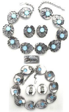 Vintage Costume Jewelry Schiaparelli Necklace and Clip Earrings Set