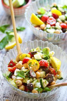15 Minute Mediterranean Chickpea Salad | dishingouthealth.com